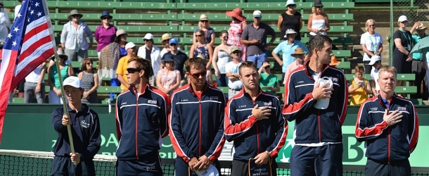 US Davis Cup team members (2nd L to R) Mike Bryan, Bob Bryan, Jack Sock, John Isner and captain Jim Courier.