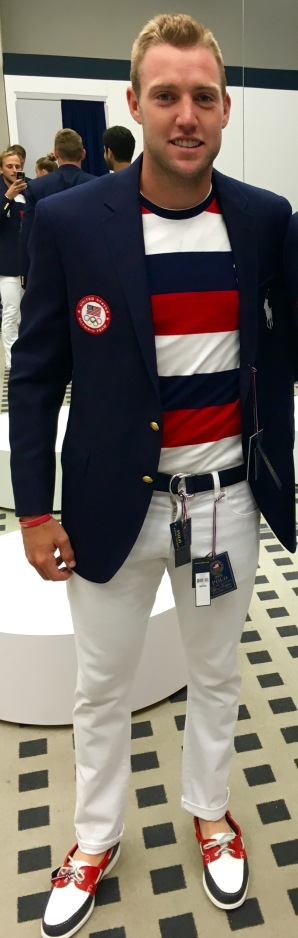 American Jack Sock trying on his Opening Ceremony outfit