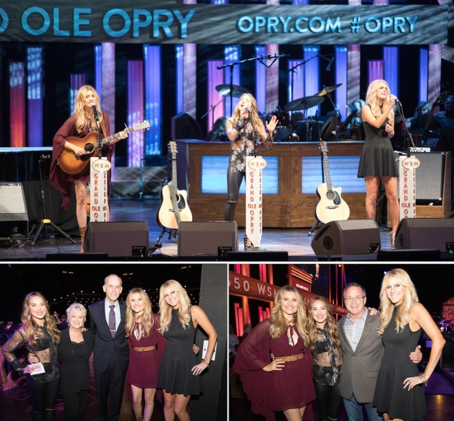 "(TOP: Runaway June's Hannah Mulholland; Naomi Cooke; Jennifer Wayne perform hit single ""Lipstick;"" BOTTOM LEFT: Naomi Cooke; the legendary Connie Smith; the Grand Ole Opry's Eddie Stubbs; Hannah Mulholland; Jennifer Wayne BOTTOM RIGHT: Hannah Mulholland, Naomi Cooke; Grand Ole Opry VP Pete Fisher; Jennifer Wayne)"