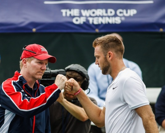 U.S. Davis Cup Captain Jim Courier and world No. 20 player Jack Sock